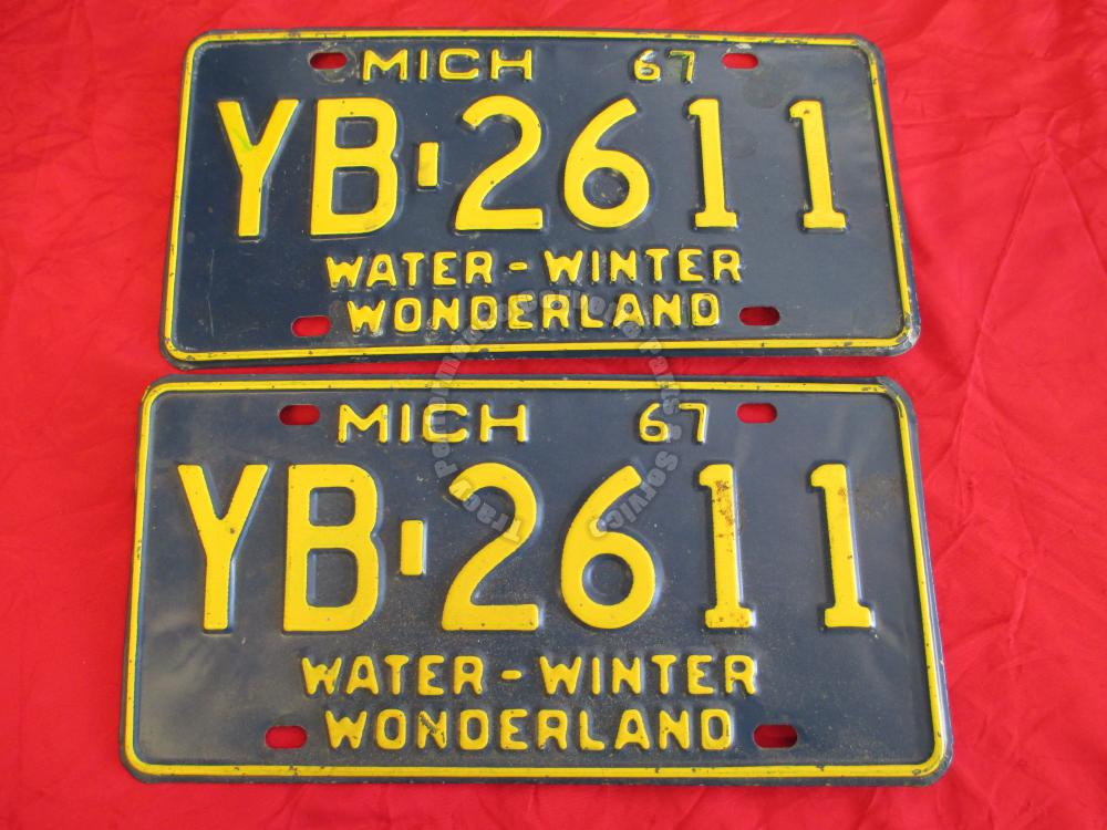 1967 Pair Used Original Michigan License Plates YB2611 Water-Winter Wonderland