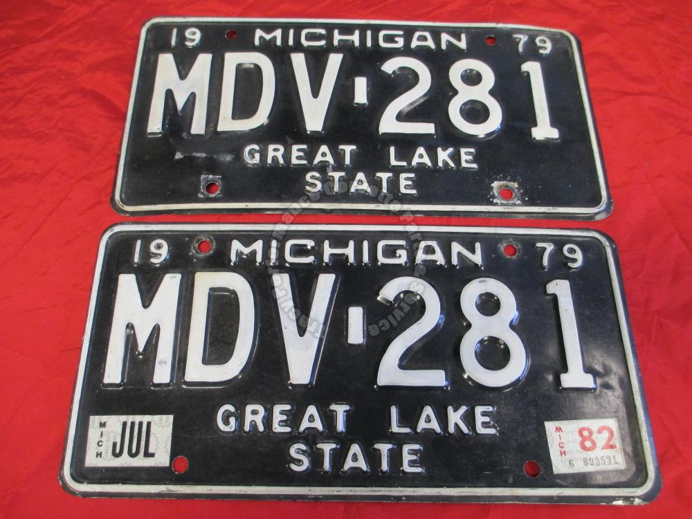 1979-82 Pair Used Original Michigan License Plates MDV 281 Great Lake State 12""