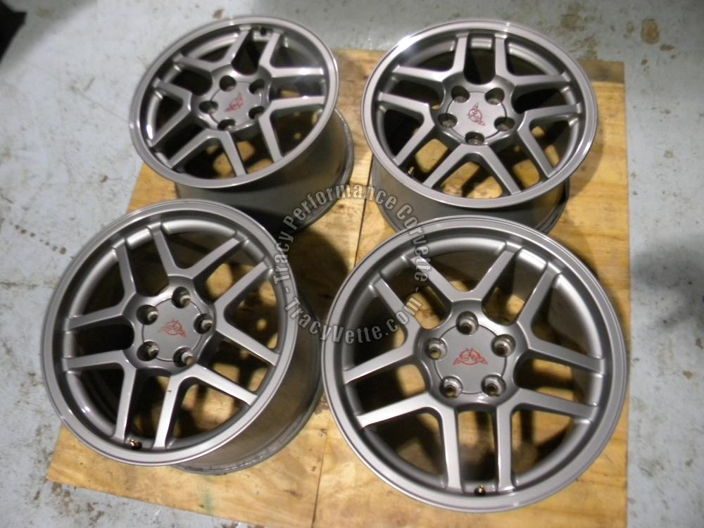 "2001-04 Corvette 2/17""x9.5"" 2/18""x10.5"" Used Z06 Wheels/4 Gray Double Spoke Alum"