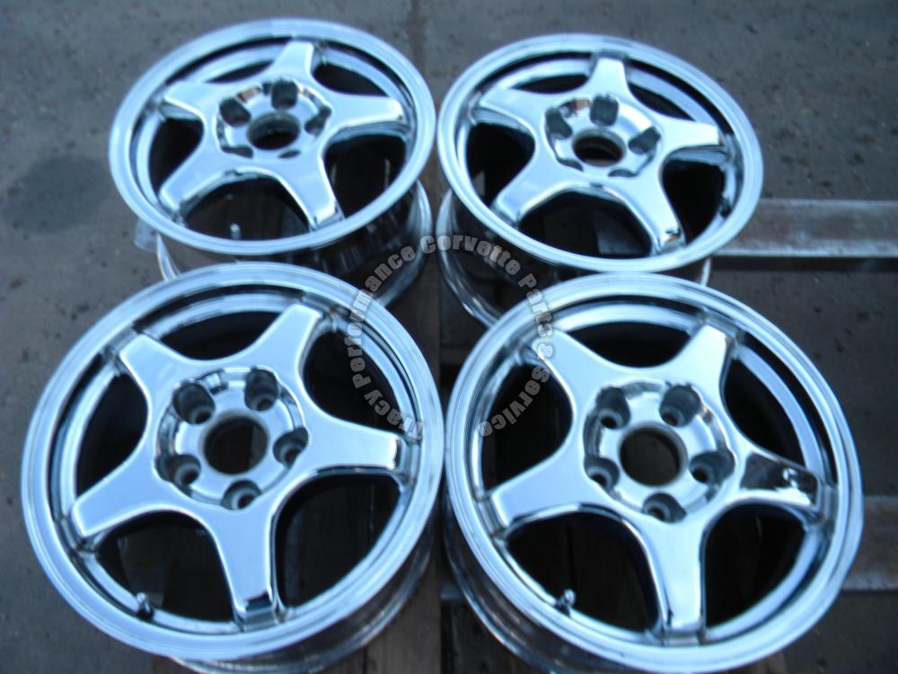 "1984-1987 Corvette Used 16""x8"" Chrome 5 Spoke Wheels/4 Aftermarket Repro w/Stems"
