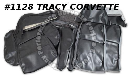 1984-87 Corvette New Repro Gray Leather Sport Seat Covers w/o Perforations 85 86