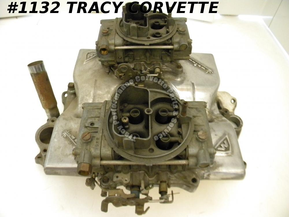 1955-85 Chevy Weiand 7291 SBC Cross Ram Manifold w/2 9776 Holley Carbs & Linkage