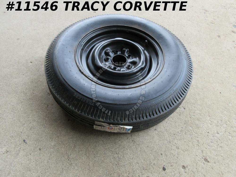 1956-1962 Corvette Used Spare Wheel w/New BFG Silvertown 6.70X15 Blackwall Tire
