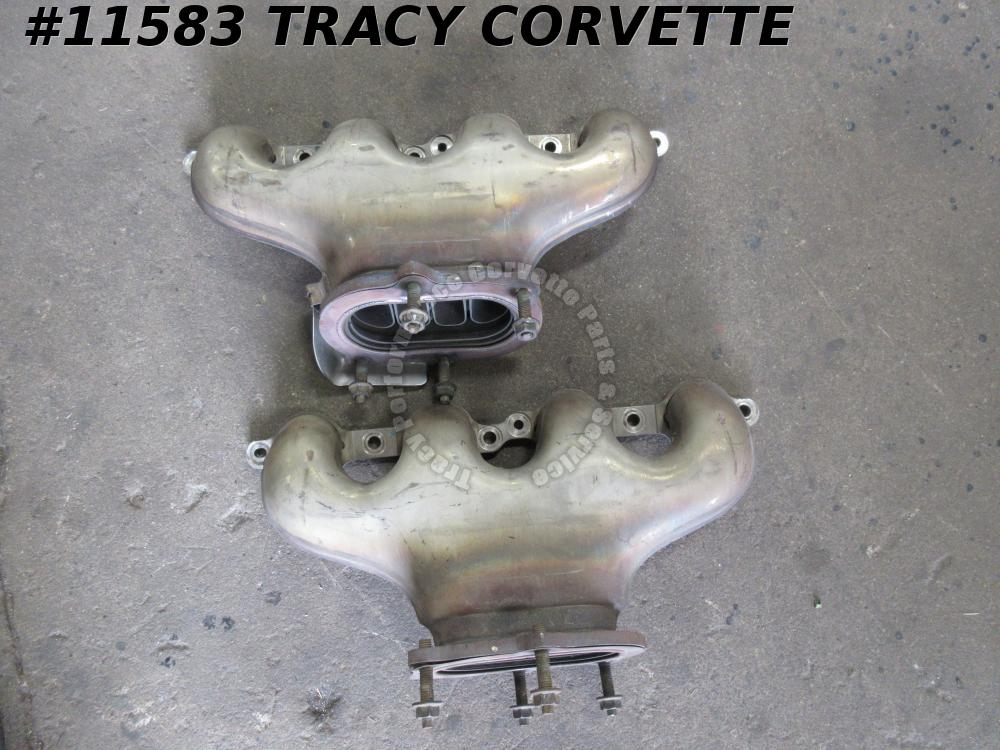 2006-2013 Corvette Used 12633124 12633125 Z06 LS Exhaust Manifolds w/Shields/Pr