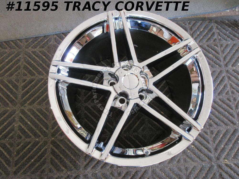 "2006-2013 Corvette Aftermarket 19""x12"" 5 Double Spoke Z06 Chrome (1) Wheel 07 08"
