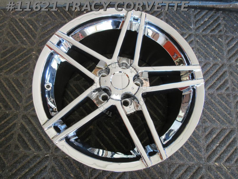 "2006-13 Corvette Aftermarket 18""x9.5"" 5 Double Spoke Z06 Chrome (1) Wheel 07 08"
