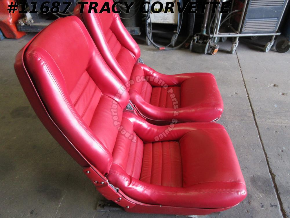 1979-1982 Corvette Used Original Red Seats w/Tracks/Pair 79 80 81 82 w/N Inserts