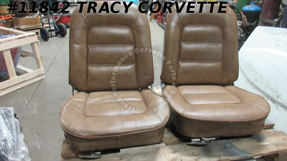 1965 Corvette Used Original Saddle Vinyl Seats w/Tracks w/Newer Covers/Pair 65