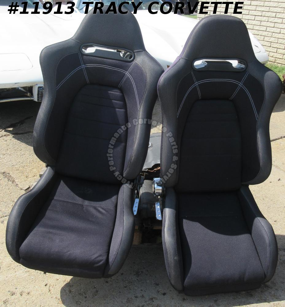 Racing Seats Black Fabric Super Light Save 100 lb's over Stock C5 Corvette