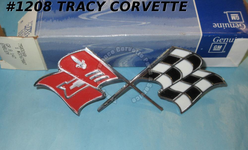 1957 Corvette NOS 3767507 Fender Crossed Flags Emblem