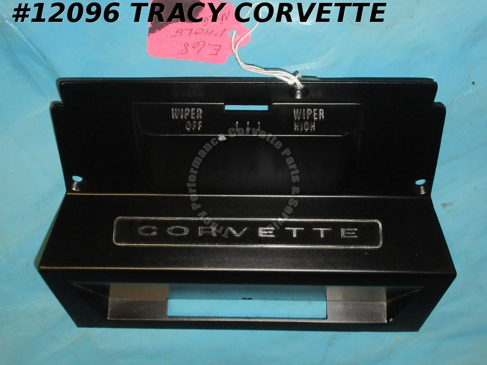 1968 Corvette Wiper Switch Bezel 6481509 Plate Center No-AC One Hole Early 68