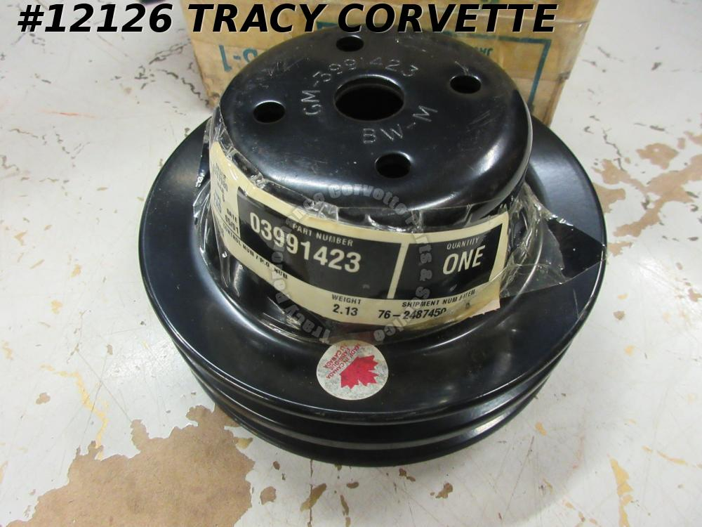 1971-80 Corvette NOS Orig 3991423 Fan Water Double Groove Pump Pulley 71 72-1980