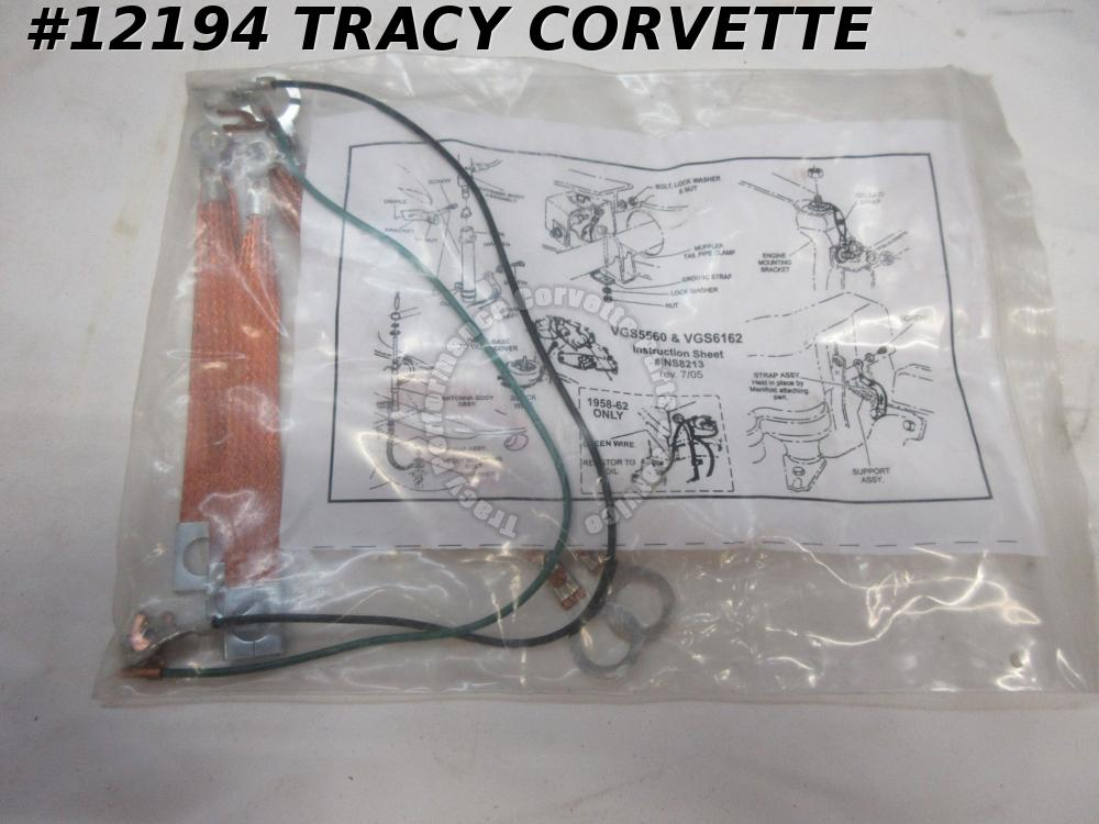 1961-1962 Corvette New Correct Reproduction Ground Strap Set, 7 Pieces for 61-62