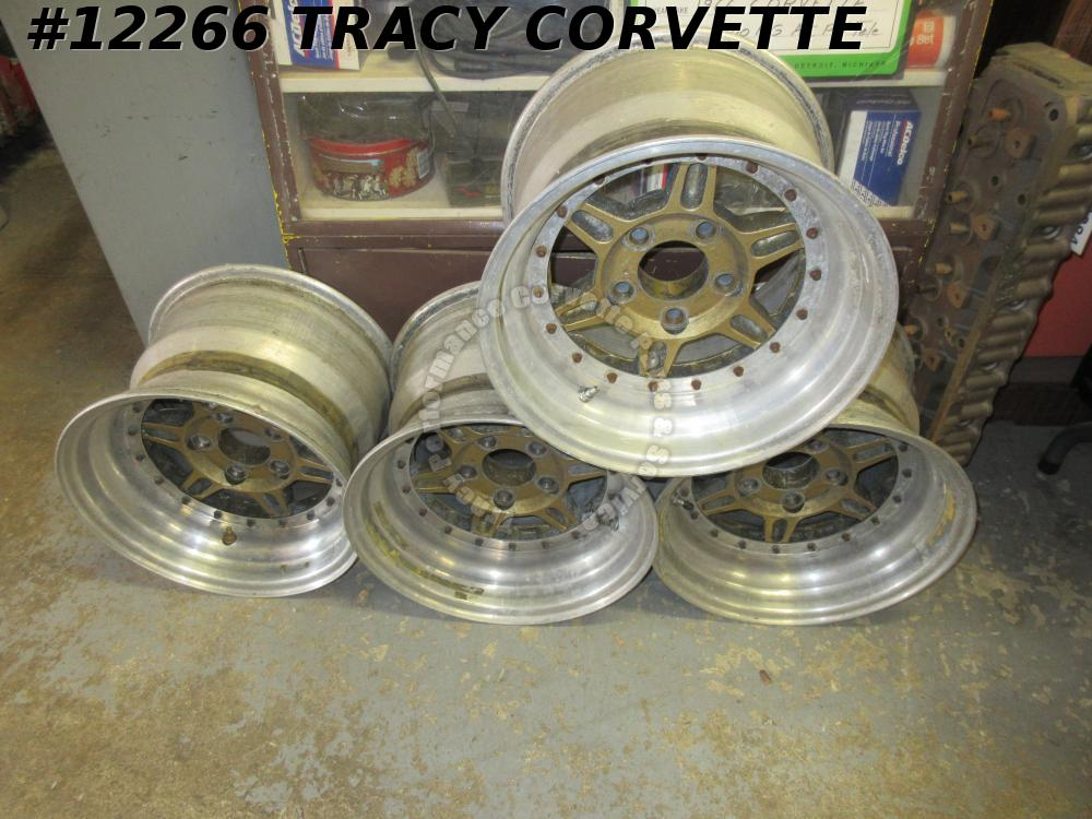 1963-1982 Jongbloed Used Chevy 15x10.5 Lightweight 3 Pc Race Wheels/4 Youngblood