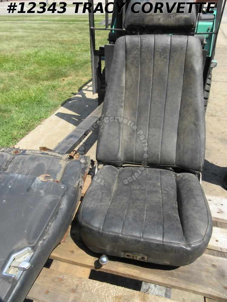 1969 Corvette Used Rebuildable Black Bucket Seat Cores w/Tracks & Headrests/Pr