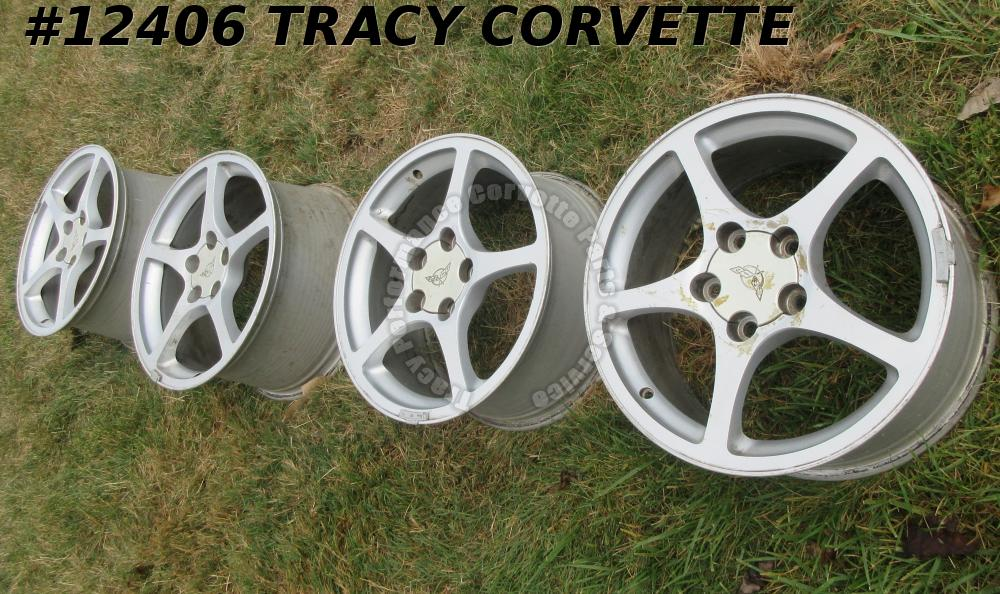 2000-2004 Corvette 9593797 9593799 Silver Spoke Wheels 17x8.5 18x9.5 Set of 4