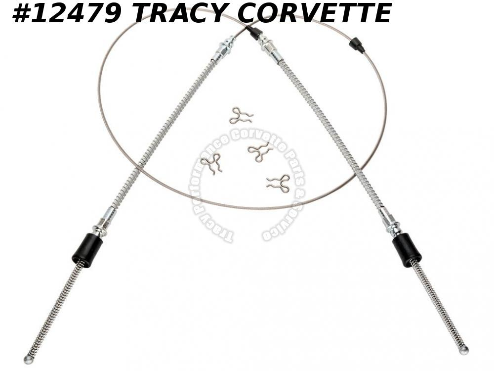 1965-1982 Corvette 3866427 Rear Parking Brake Cable Asy E Brake w/ clips