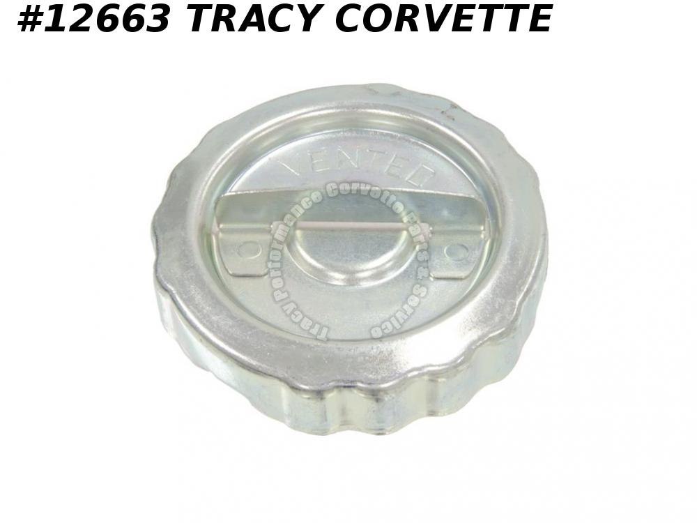 1963-1969 Corvette Gas Cap GM# 3952708 with Correct Logo Vented rubber seal
