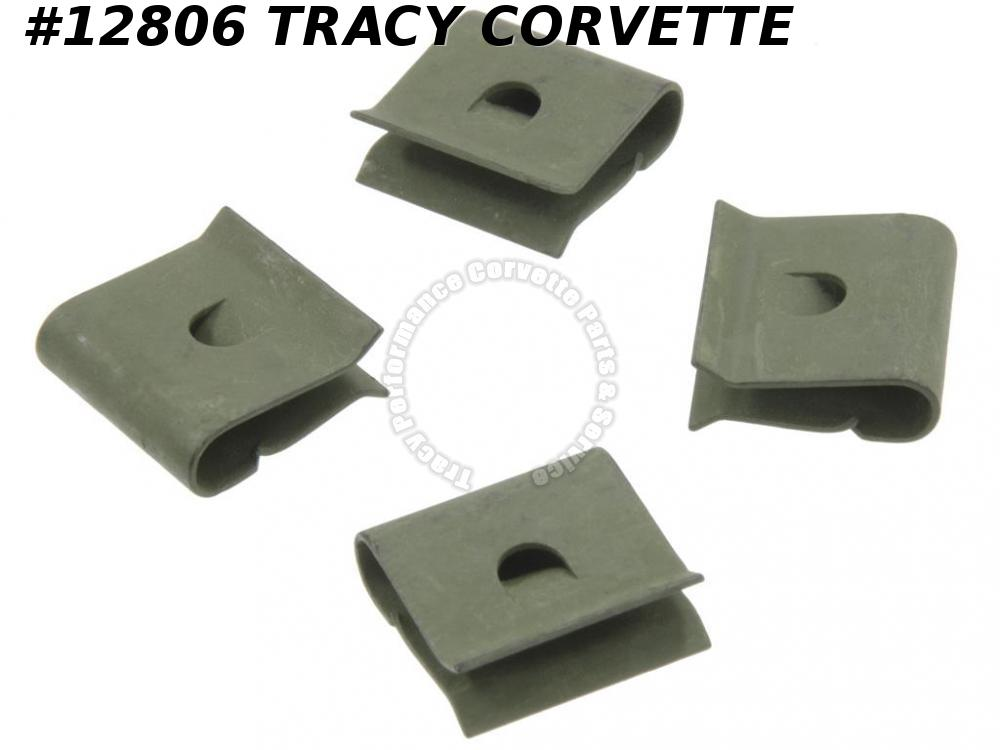 68-72 Lower Outer Windshield Moulding Clips - Outer On Fender - Set Of 4