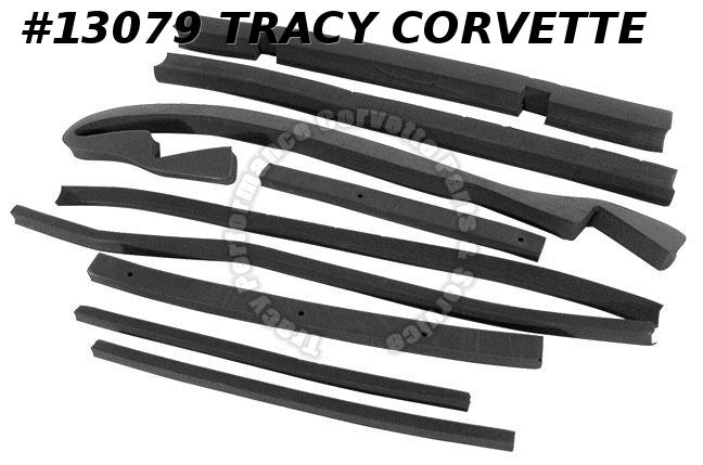1974 1975 Corvette Radiator Support Shroud Hood seals w/o AC 9 piece kit