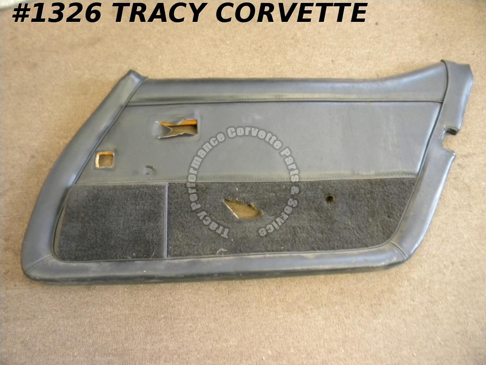 1979 Corvette Used Original RH Black Door Panel Assembly w/o Remote Control Hole