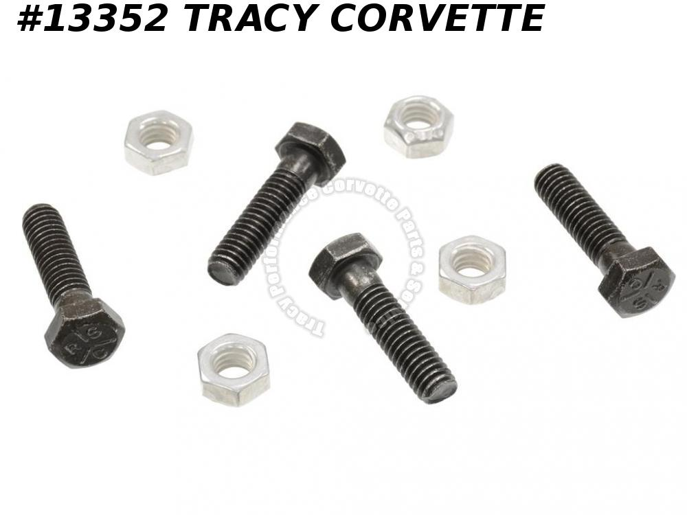 1953-1982 Corvette Tie Rod Tube DragLink Adjusting Sleeve End Clamp Bolt Nut Set