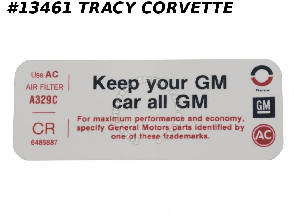 1972 Chevy Corvette Chevelle Camaro Air Cleaner Decal (Keep Your GM Car All GM)
