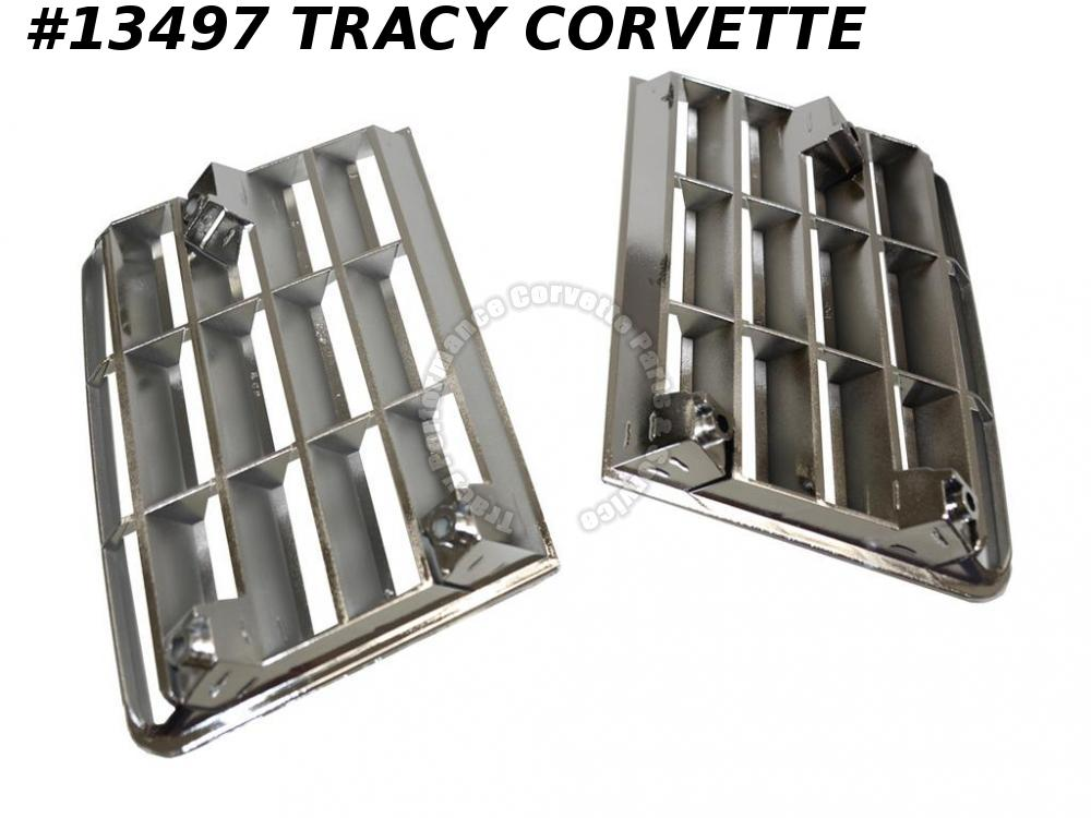 1980-1982 Corvette Chrome Side Fender Vent Louver Grilles Pair 1981