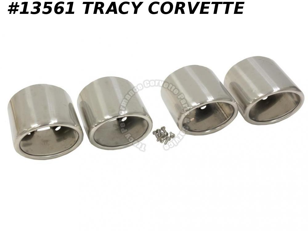 1997-2000 Corvette Super Exhaust Extension Tips Stainless Steel Round 1998 1999