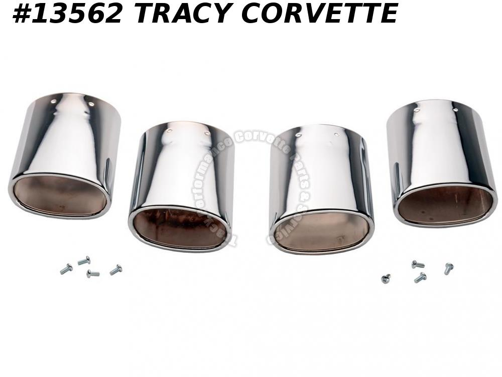 1997-2000 Corvette Exhaust Extensions/ Tips - Oval Chrome Plated Stainless Steel