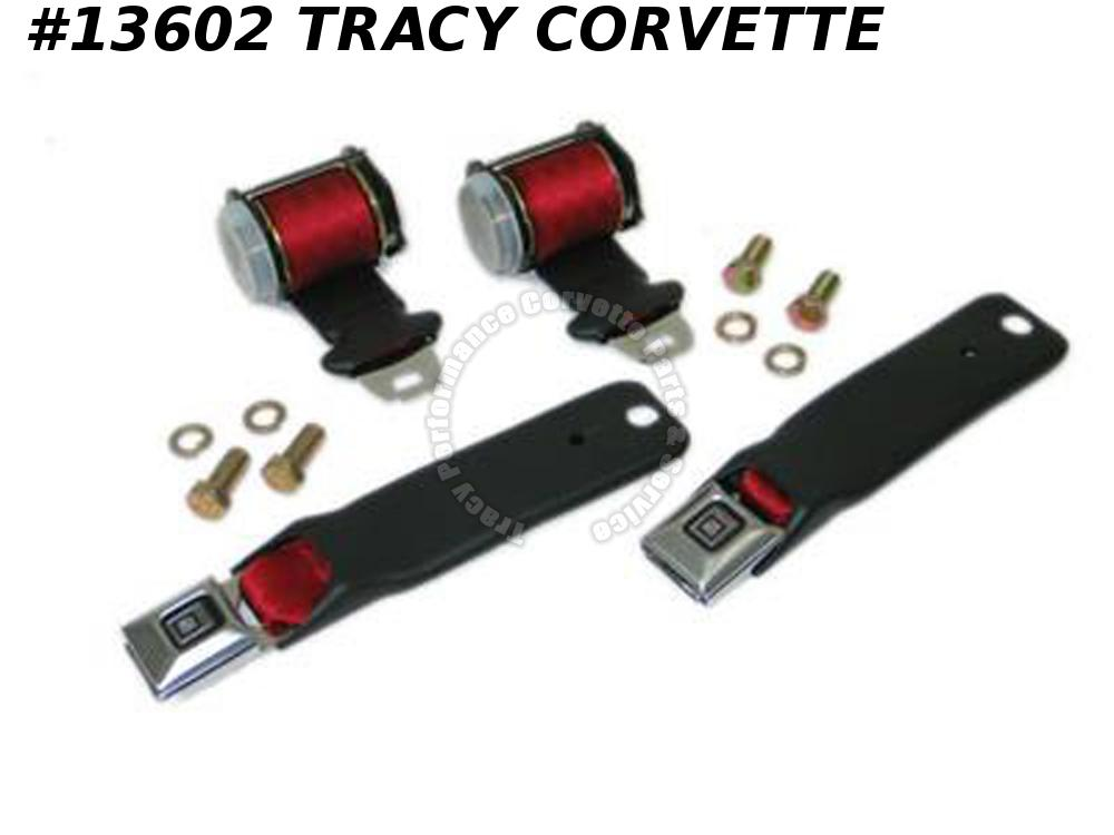 1972-1977 Corvette Seat Belts - Reproduction Lap With Single Retractor - Premium