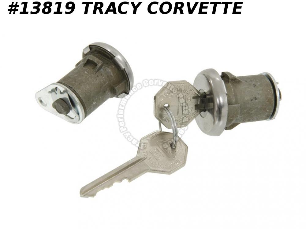 1961-1966 Corvette Door Lock & Key Set with Pawls/Pr, 61 1962 62 1963 63 1964 65