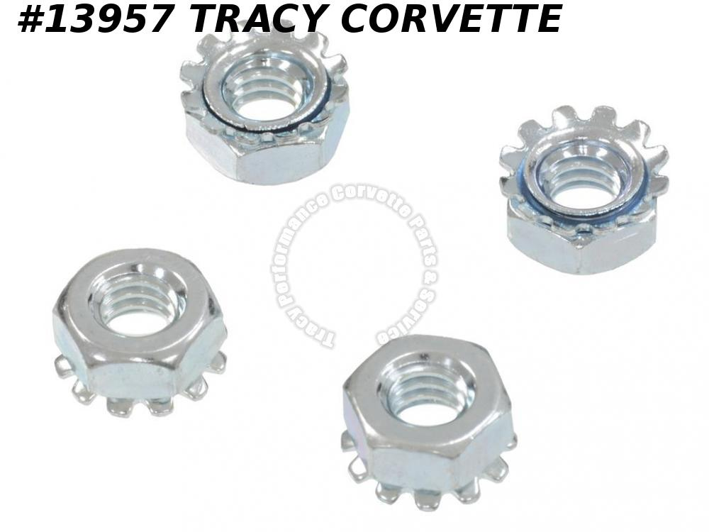 1968-1975 Corvette GM# 271172 Deck Lid Catch Bezel Mount Nut Set - 4 Pieces
