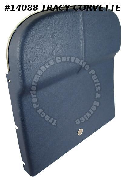 1966 Corvette Seat Back (Pair) Deluxe Dark Blue w/ vent and chrome trim install