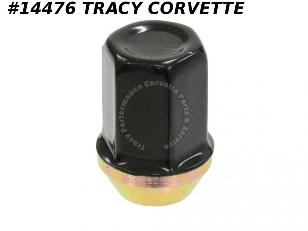 1984 Corvette Wheel Lug Nut Black Plastic Coated Stainless Steel Cap GM#9591664