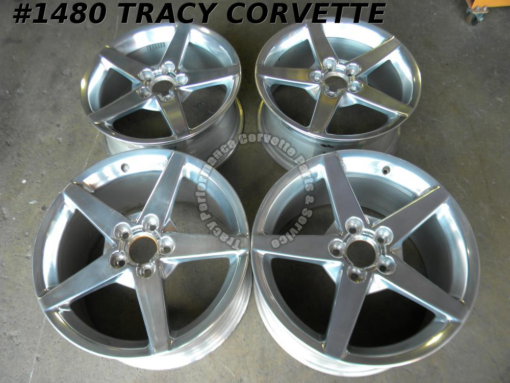 2005-13 Corvette 9594346 9594348 5 Spoke Polished Wheels w/Centers 18X8.5&19x10
