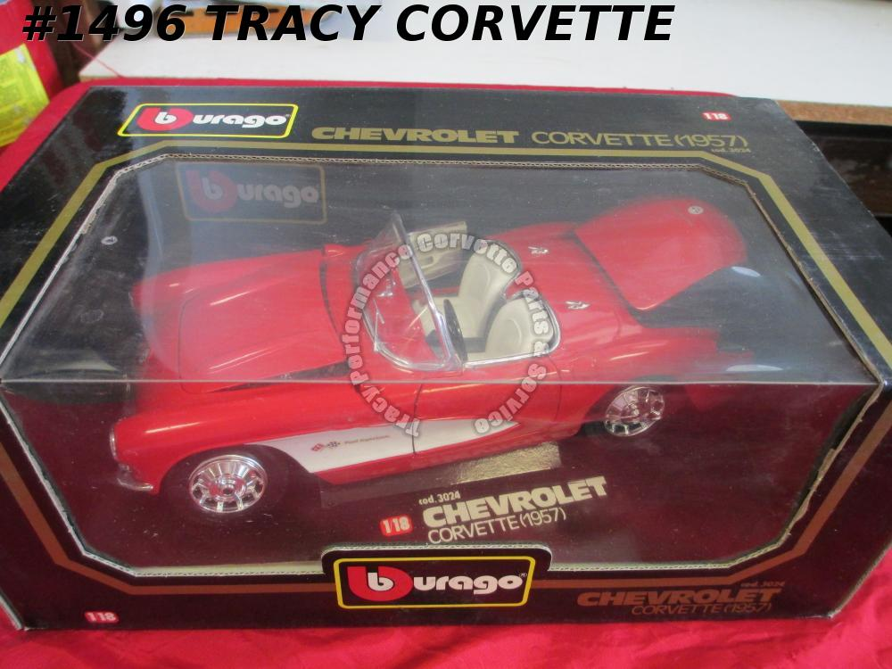 1957 Chevrolet Chevy Red 1957 Corvette Burago 3024 1:18 Scale Die-Cast Model