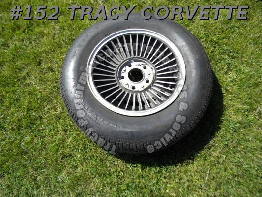 "1967 67 Corvette Used 6"" Western Bolt-On Wheel & 1 P205/75R15 Uniroyal Tiger Paw"