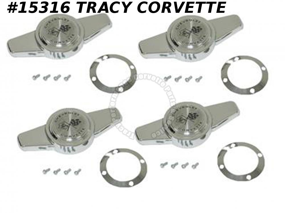 1956-1962 Corvette Hubcap Spinner GM#3725239 w/ Retainer And Screw Set