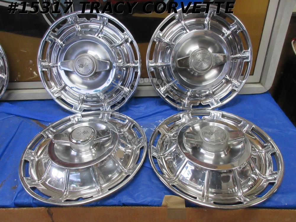 1959-1962 Corvette Hubcaps GM# 3725237 Driver Quality Set of 4   Set#2 dented