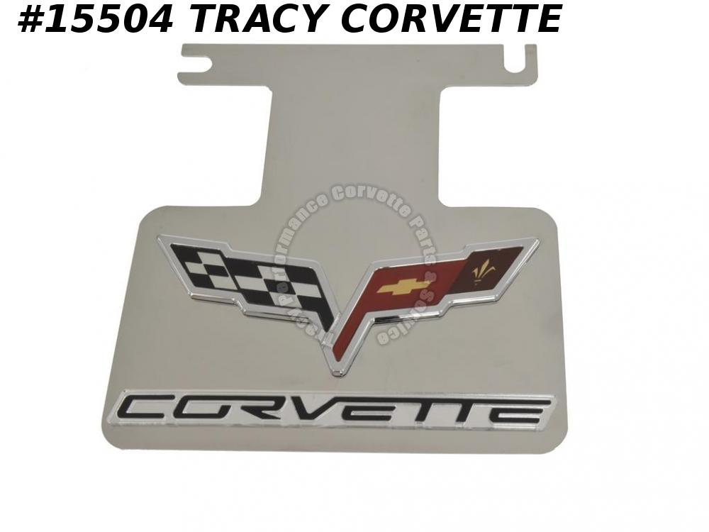 2005-2013 Corvette Exhaust Dress Up Plate - Stainless Steel - C6 Acrylic Emblem