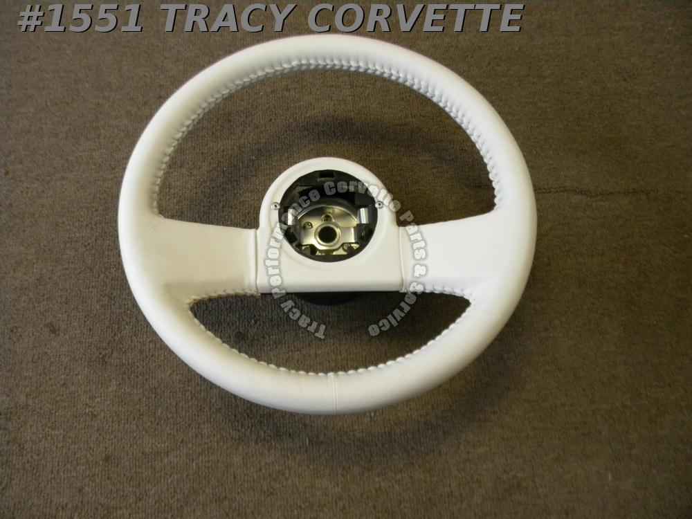1984-1985 1986 87 88 1989 Corvette New White Repro Leather Thick Steering Wheel