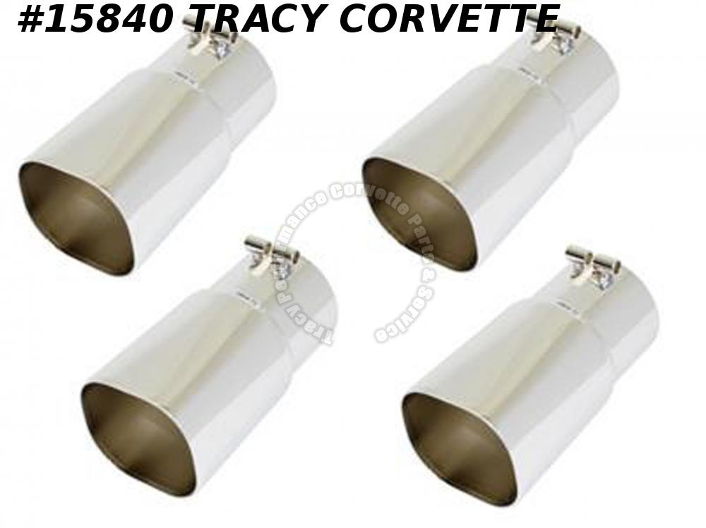 1985-1991 Corvette Exhaust Extensions Tips ZR1 Style Stainless 4 Pieces