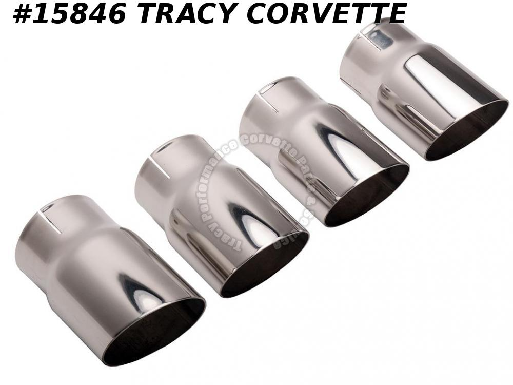 1985-1991 Corvette Exhaust Extensions Tips - Round Angle 4 Pieces SS