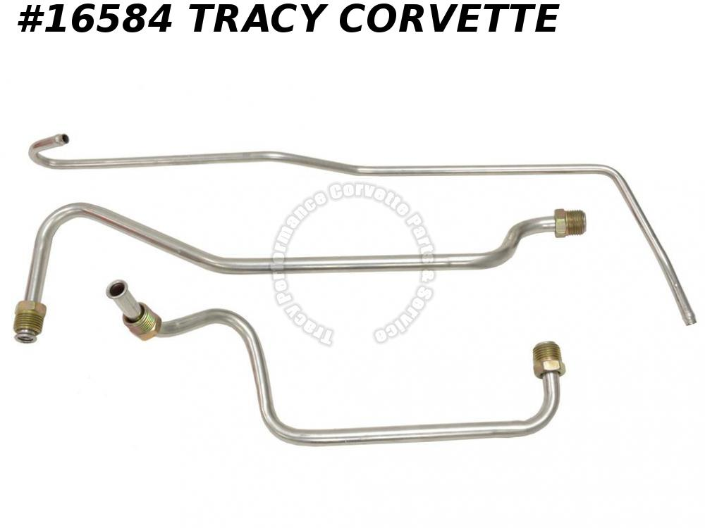 1968-1969 Corvette Gas Line 300 350 Stainless Steel - 3 Piece Kit Less Filter