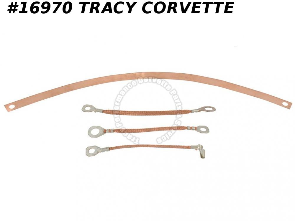 1963-1967 Corvette Radio Ground Straps All With Side Exhaust -  Set of 4