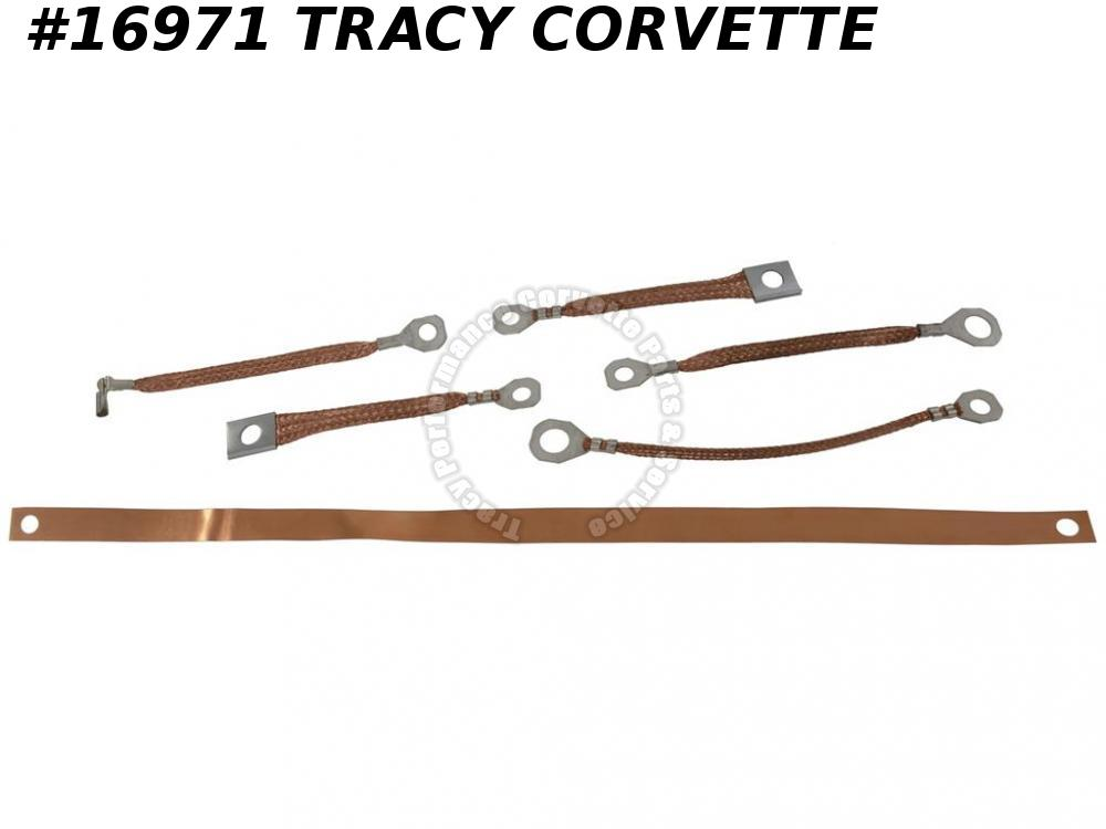 1964-1967 Corvette Ground Straps All Without Side Exhaust - Set of 6