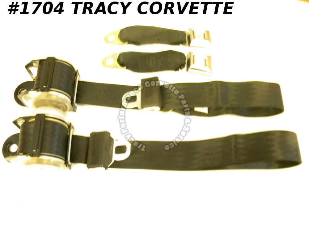 1978-1982 Corvette New Black Seat Belts-Pair w/Shoulder Harness 78 1979 80 81 82