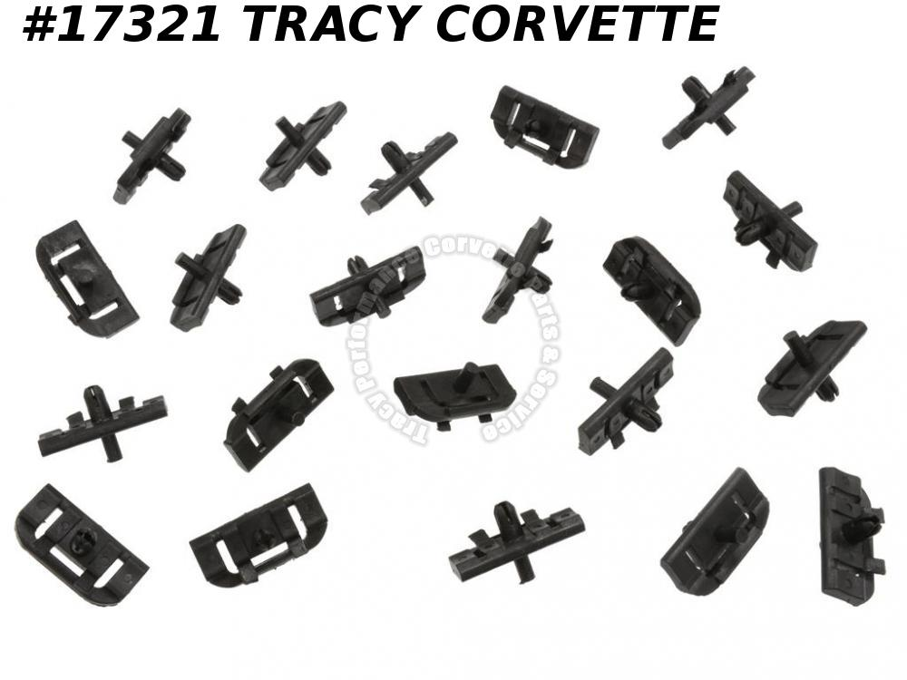 1978-1982 Corvette Rear Outer Window Moulding Mounting Clips - Set Of 21