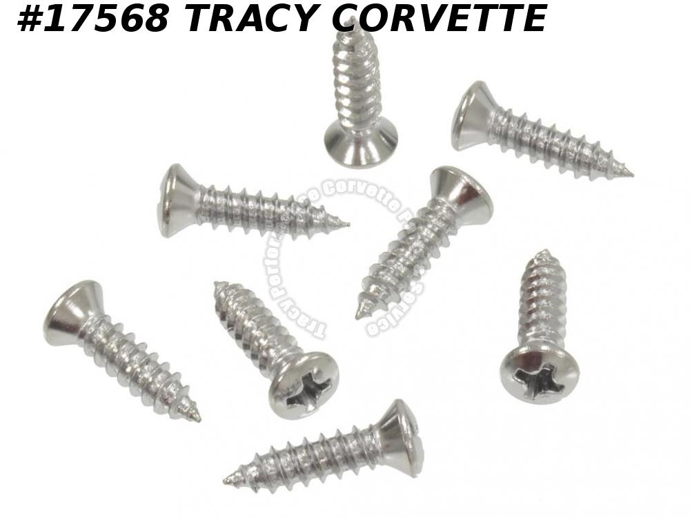 1958-1962 Corvette GM# 3770549 Headlight Bezel Screw Set - 8 Pieces